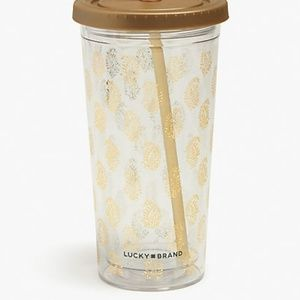 New Lucky Brand Gold Paisley Tumbler